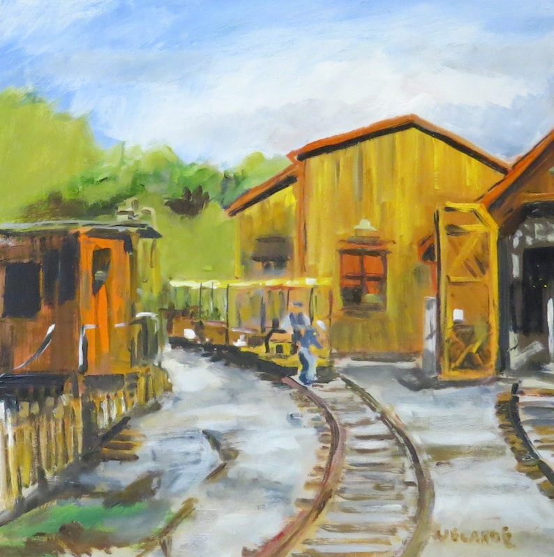 Midland Railroad Speeder and Train Barn  Original 12 x 12 image 0