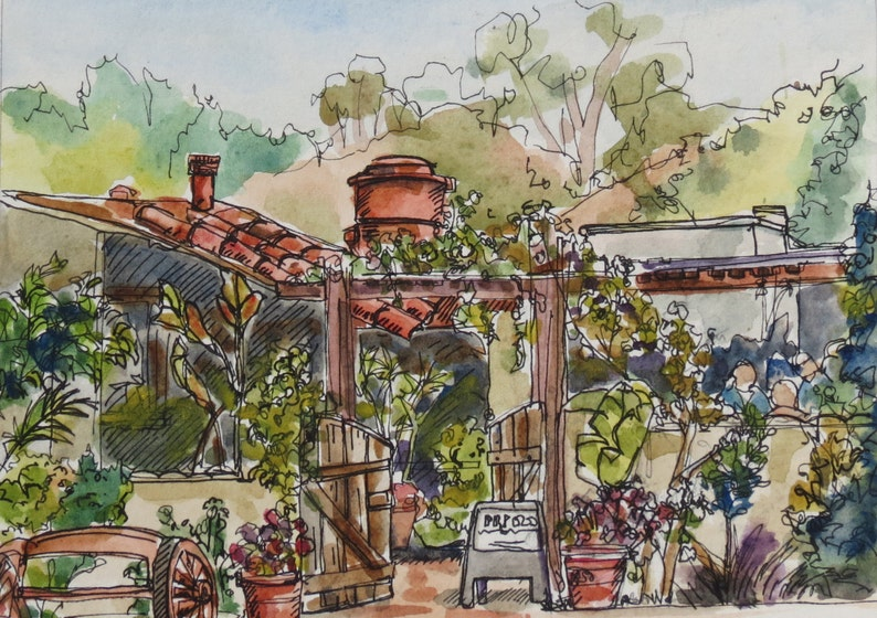 Old Town San Diego Original watercolor with pen and ink image 0