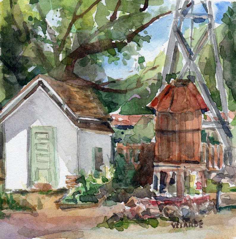 Sikes Adobe Farmstead  Original Watercolor Signed image 0