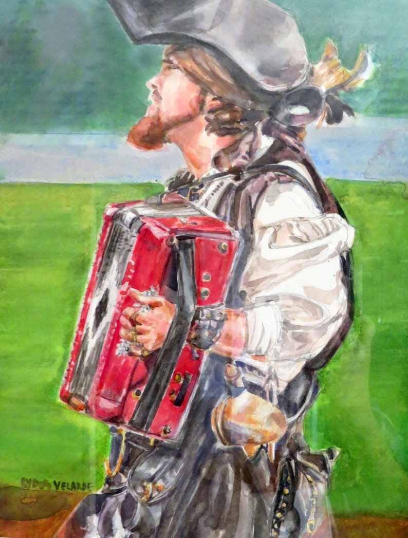 Pirate with Accordion Original Watercolor 10.5 x 13.5 inches image 0
