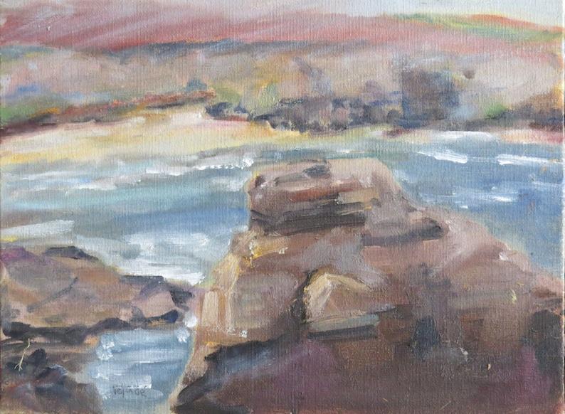 9 x 12 Inch Oil Painting En Plein Air Sunset Cliffs San image 0
