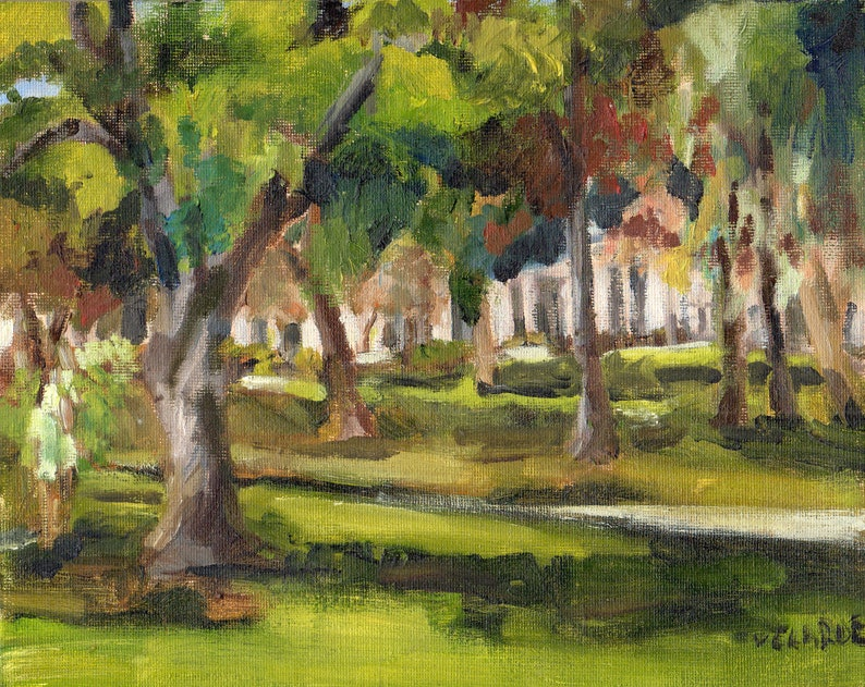 View in Grape Day Park Escondido Original Oil Painting 8 x image 0