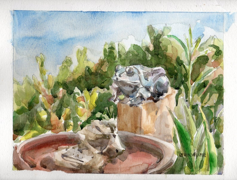 Garden Frog Bird Bath Original Watercolor Urban Sketch image 0