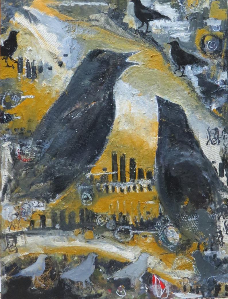 Original Mixed Media Oil Painting Crow Town USA image 0