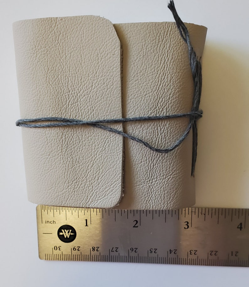 Handmade Mini Soft Leather Book  3 x 3 Inches  Gray Small image 0