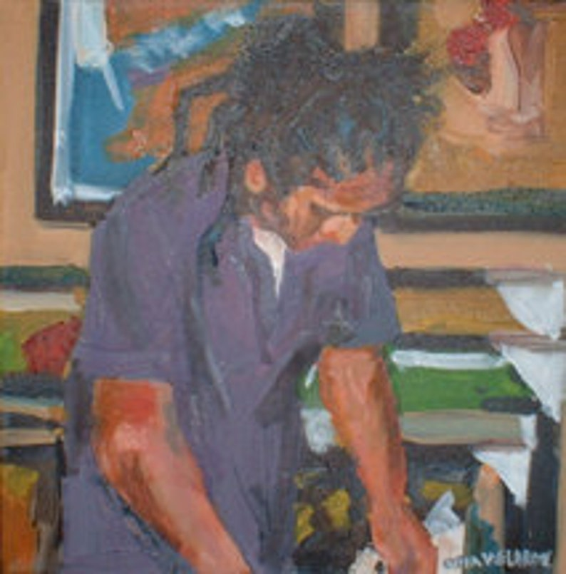Original Oil Painting I Liked His Hair 12 x 12 Inches image 0