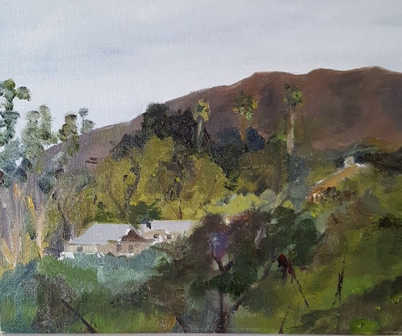 Lake Hodges San Diego CA House on a Hill  Original Oil image 0