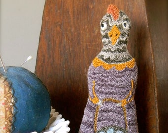"the Punch Needle Folk Series ~ ""Claudia Cluck"" PAPER/Mailed Pattern ~ from Notforgotten Farm™"