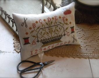 Retired Cross Stitch Club Pattern ~ Sewing Basket Scissors Pillow ~ from Notforgotten Farm™