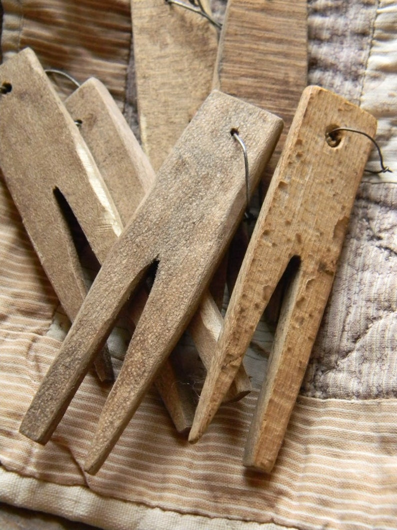 Hand Carved Primitive Wooden Clothespins  from Notforgotten image 0