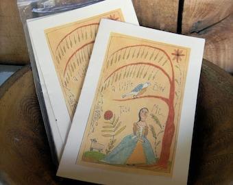 A Little Bird - LIMITED EDITION Folk Art Notecards - from Notforgotten Farm™