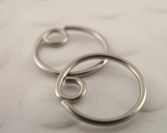 1 Pair - Titanium Hypo Allergenic Earring Hoops - 20 gauge - 10mm-20mm YOU PICK Size