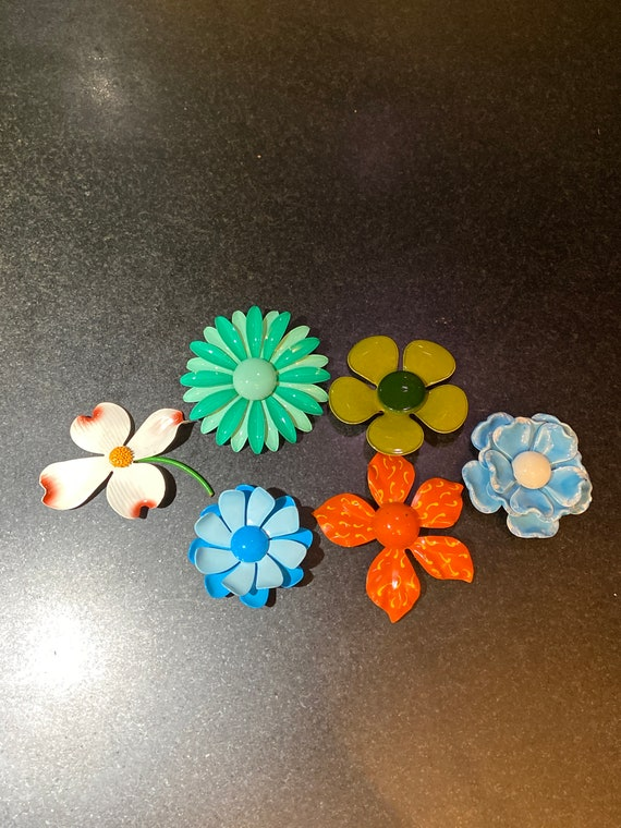Collection of 6 1960's Enamel Flower Pins / Brooch