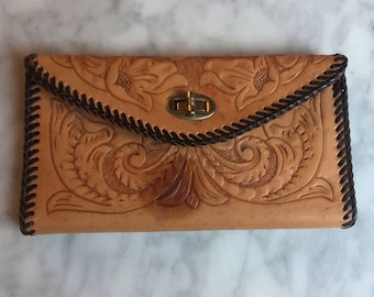 Tooled Leather Wallet With Tooled Flowers