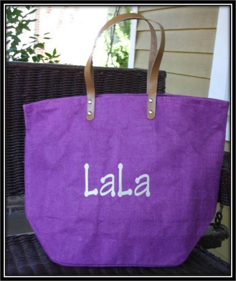 Purple Monogrammed  Personalized Large Jute Tote Bag