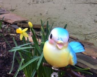 Vintage Lefton Norcrest Blue Bird Clip Ornament