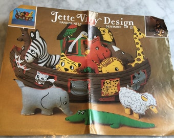 Vintage Jette Viby Design Noah's Ark Stuffed Toy Kit Denmark