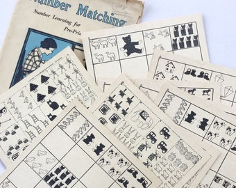 Vintage Flashcard School Counting Graphic  Number Matching Game