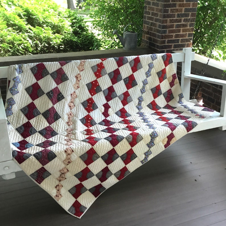 Antique Red and White Quilt Hand Quilted Christmas Blanket image 0