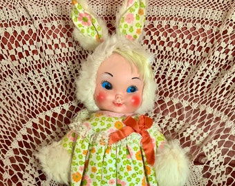 Vintage Stuffed Rubber Face Bunny Rabbit Girl Doll Floral Dress Gund Knickerbocker Easter Toy