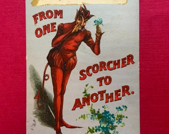 Vintage Postcard with Great Red Devil Image Possible Valentine with Halloween Theme