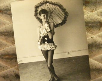 Original Vintage Photo of Young Girl with Umbrella and Polka Dot Costume