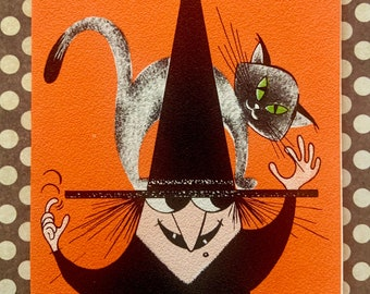 Vintage Unused Halloween Party Invitation Card Witch with Black Cat on Her Hat