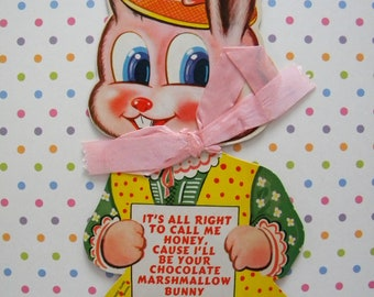 Vintage Rosen Co Easter Candy Card Marshmallow Bunny Die Cut