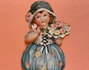 Large Unused Vintage Valentine's Day Card Girl Holding Bouquet of Roses