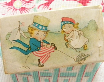 Antique Candy Box with Fourth of July Uncle Sam and Lady Liberty Firecrackers Grace Drayton Art Chocolate Box