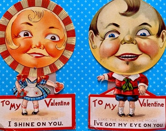 2 Large Vintage Valentine's Day Cards Mechanical Winking Sun and Moon Creepy Cards Germany