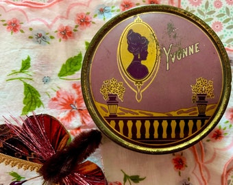 Vintage Face Powder Tin Lavender and Gold with Woman's Silhouette and Name Yvonne