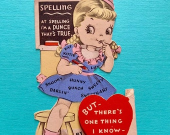 Vintage Valentines Day Card At Spelling I'm a Dunce School Girl