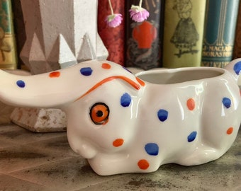 Vintage Bunny Rabbit Creamer Polka Dotted Ceramic Made in Japan Easter