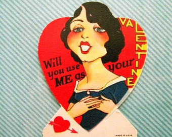 Vintage Valentine's Day Card with Flapper Era Girl Use Me as Your Valentine