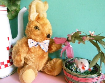 Vintage Knickerbocker Fully Jointed Rabbit Easter Bunny Stuffed Toy