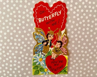 Vintage Valentines Day Card Butterflies in Love Gold Embossed Signed