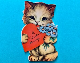 Vintage Valentines Day Card Kitten Holding Heart and Forget Me Nots