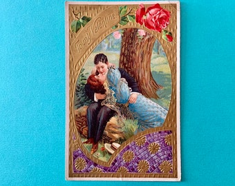 Vintage Valentines Day Postcard Romantic Lovers Kissing in Meadow Germany