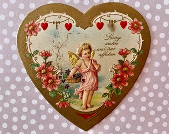 Vintage Valentines Day Card Victorian Embossed Heart Cupid