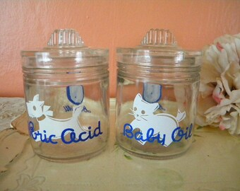 Two Vintage Baby Jars with Cat and Dog Art Deco