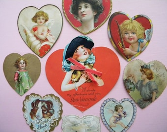 9 Vintage Heart Shaped Valentine's Cards 1910's and 1920's Era Postcard and Embossed