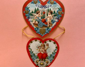 Antique Unused Hanging Valentine's Day Card Hearts with Cupids and Forget Me Nots