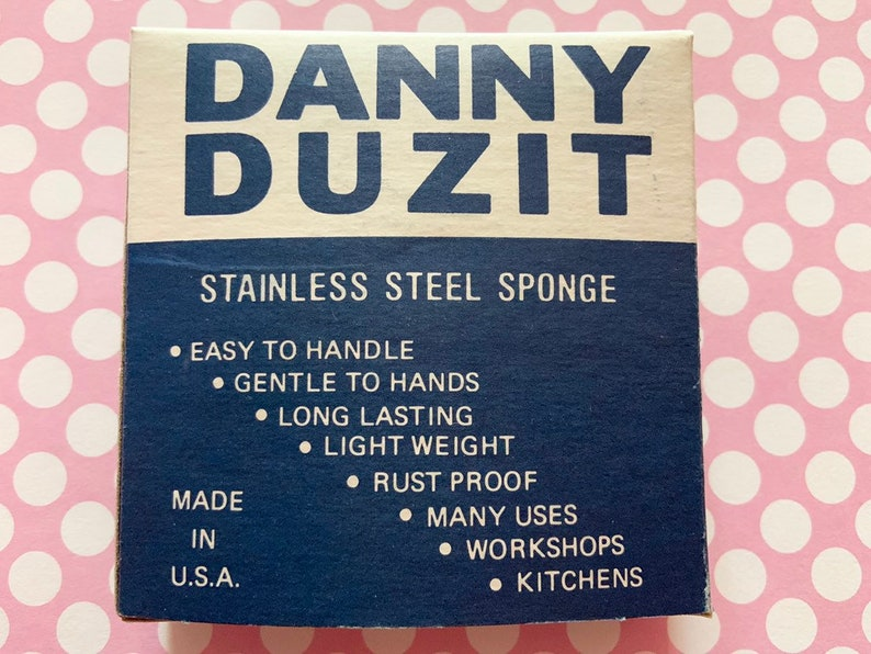 Vintage Unused Danny Duzit Stainless Steel Sponge Scouring Pad Mint in Box