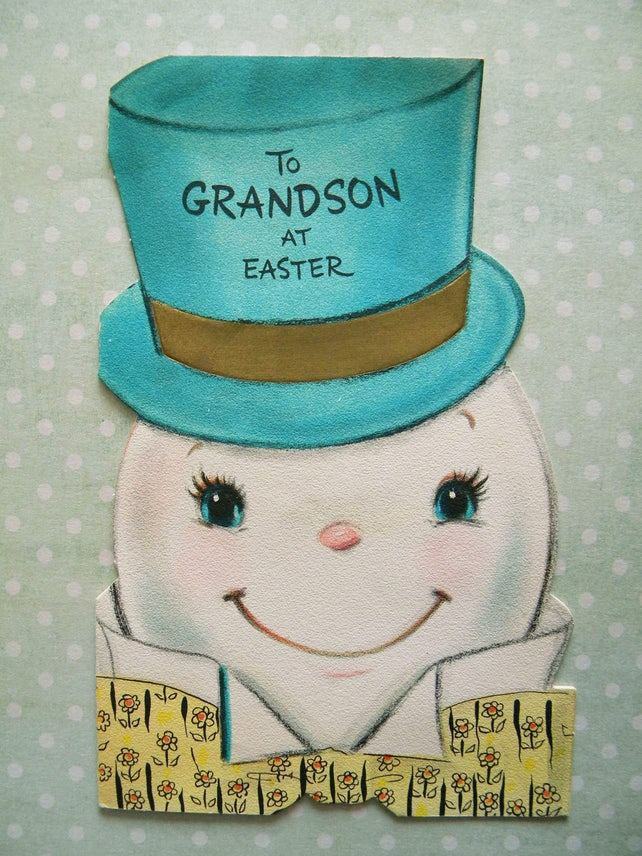 Vintage Easter Card with Anthropomorphic Egg Man to Grandson