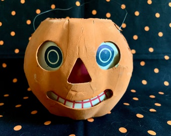 This Listing is on LAYAWAY-Please Do Not Purchase-Vintage Paper Mache Halloween Jack O Lantern Original Paper Face Insert Germany