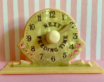 Vintage Celluloid Baby Feeding Time Reminder Clock in Original Box Nursery Display