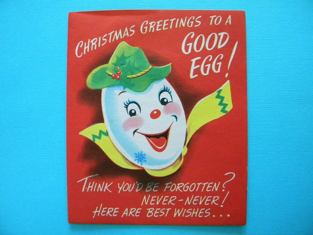 Vintage Unused Christmas Card Pop Up Anthropomorphic Egg