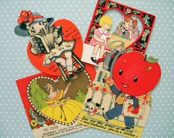 4 Vintage Valentine's Day Cards Anthropomorphic Tomato Accordion Girl 1920's and 1930's