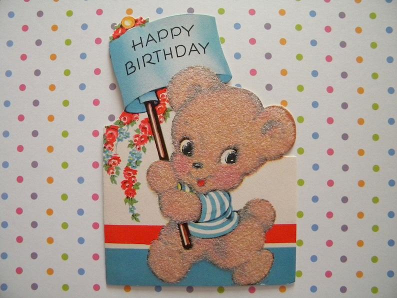 Vintage Flocked Birthday Card Teddy Bear Holding Banner Signed Etsy